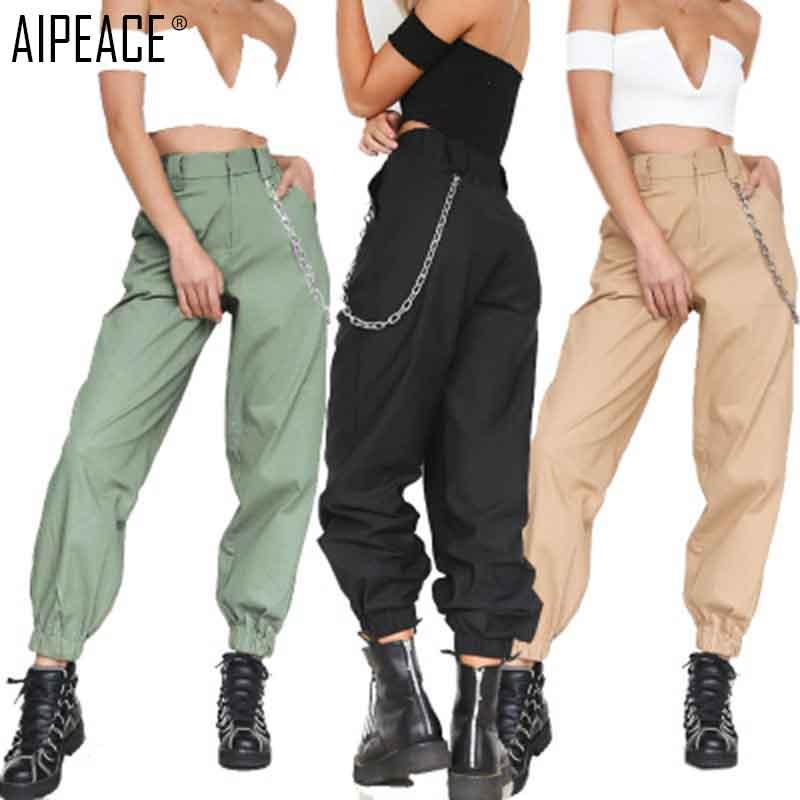AIPEACE 2019 Women   pants   women Fashion casual pure color loose   wide     leg     pants   women's loose chain decoration   pants