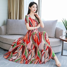 Summer Fashion Women Korean Slim Printed Bohemian Wind Temperament Beach Sand Dress
