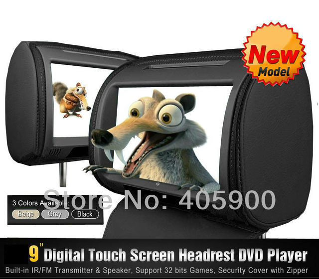 2x9 inch HD Touch Screen Headrest Car DVD Player with Games, IR headphones, detachable zipper cover