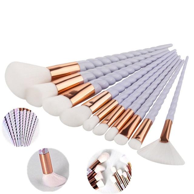 Hot 10pcs Unicorn Makeup Brushes Set Foundation Eyeshadow Base Powder Blush Blending Brushes Makeup Brush Cosmetic Tools 4