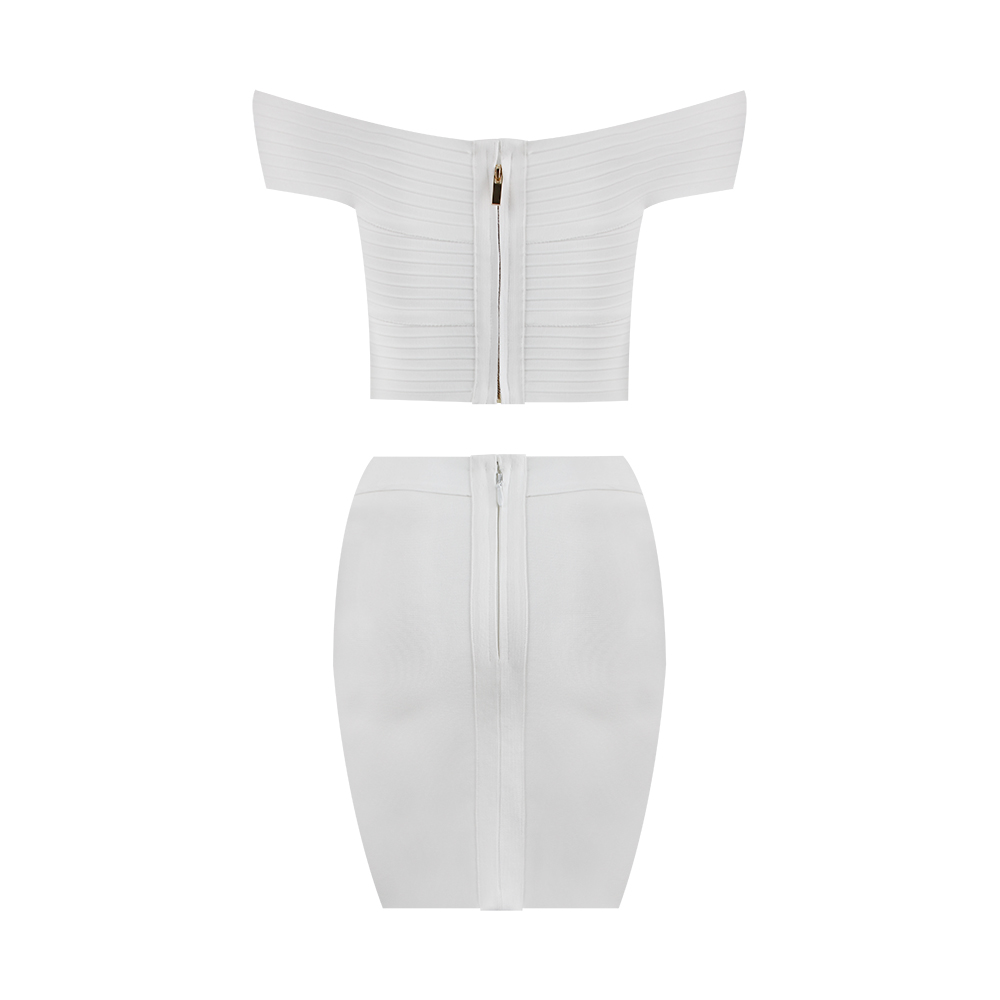 Free Shipping Solid Nude Summer Style Sexy Off Shoulder White 2 Piece Bandage Dress 2020 Designer Fashion Party Dress Vestido 3
