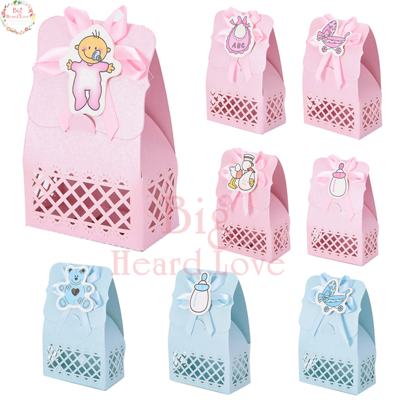 12pcs Pink Blue Cute Duck Bib Bear Laser Cut Candy Box Paper Box Baptism Baby Shower Candy Gift Box Sweet Birthday Party Supply