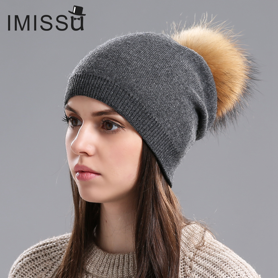 IMISSU Winter Women's Hats Real Wool Knitted Casual Beanie with Raccoon Fur Pompom Solid Colors Pom Hat Gorros Casquette Cap