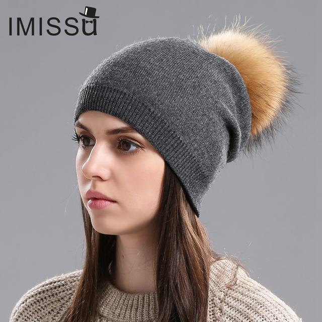 IMISSU Winter Women's Hats Real Wool Knitted Casual Beanie with Raccoon Fur Pompom Solid Colors Pom Pom Hat Gorros Casquette Cap