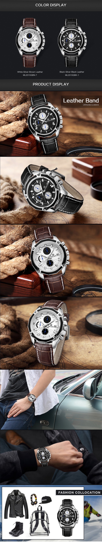 Genuine MEGIR quartz male watches Genuine Leather watches racing men Students game Run Chronograph Watch male glow hands (3)