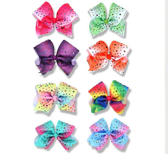 Hair Accessories 50pcs Girls 8 Rainbow Mermaid Hair Bows hairpins Clip With CZ Rhinestone Hair Bows