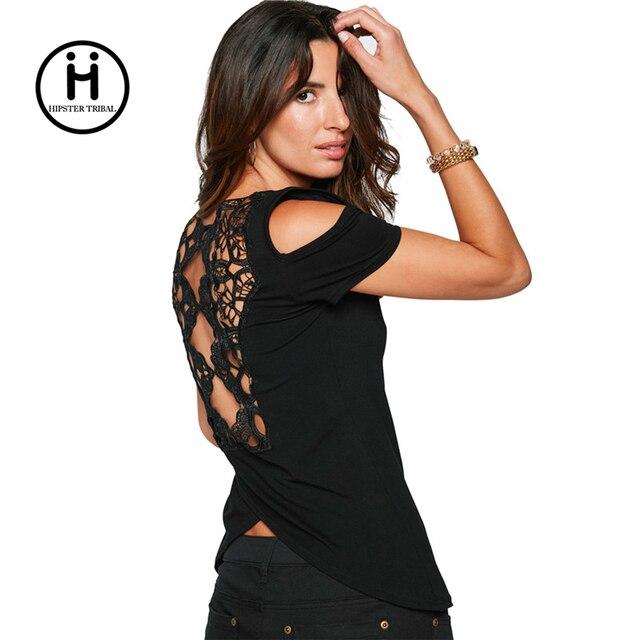 Mode T shirt Pour Femmes Top Dos Nu Dentelle Tee Shirt Femme D été ... acaa6b0c37a