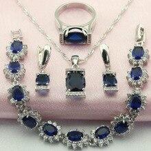 WPAITKY Shappire Azul de Moda Creado Esterlina 925 Joyería de Plata Para Las Mujeres Pendientes del Collar de la Pulsera de Envío libre del Anillo Caja de Joyas