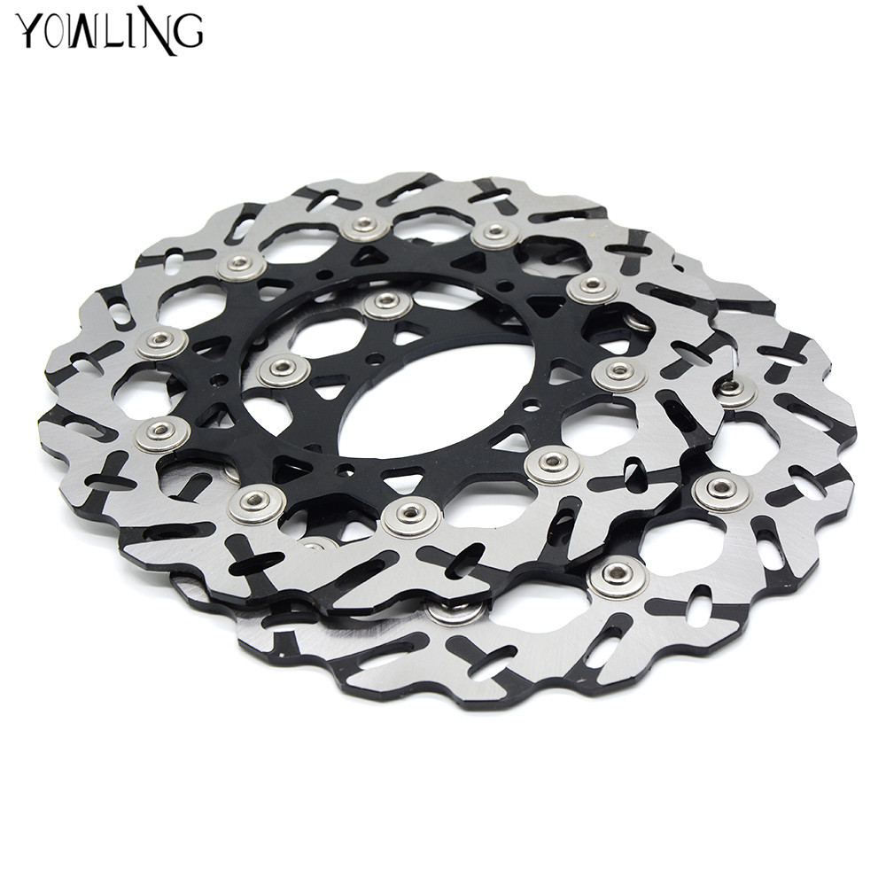 2 peiecs high quality motorcycle Accessories Front Brake Discs Rotor For YAMAHA MT-01 1670CC 2005 2006 2007 2008 2009 for yamaha mt 07 mt 07 fz07 mt07 2014 2015 2016 accessories coolant recovery tank shielding cover high quality cnc aluminum
