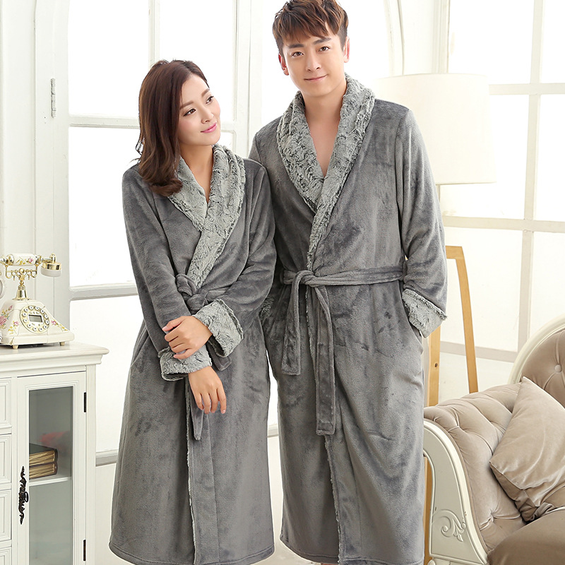 Women Men New Winter Long Robe Lovers Thick Warm Sleepwear Flannel Kimono Bath Gown Full Sleeve Nightgown Casual Night Dress