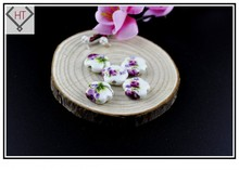 Hand Painted Porcelain Ceramic Beads 10pcs Handcrafted Loose 15mm Dark Purple Flower Jewelry