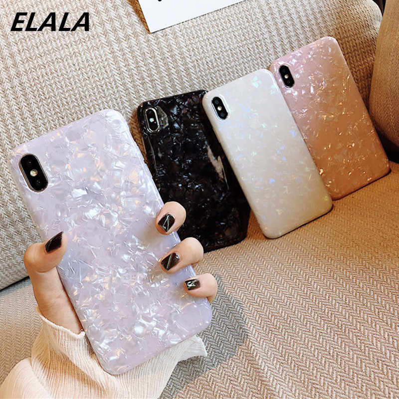 Elala Glossy Marmer Case untuk iPhone 6 7 8 Plus X XS Max XR Bling Conch Shell Epoxy Silikon Glitter Lembut TPU cover untuk iPhone 7