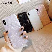 ELALA Glossy Marble Case For iphone 6 7 8 Plus X XS Max XR Bling  Conch Shell Epoxy Silicone Glitter Soft TPU Cover iPhone