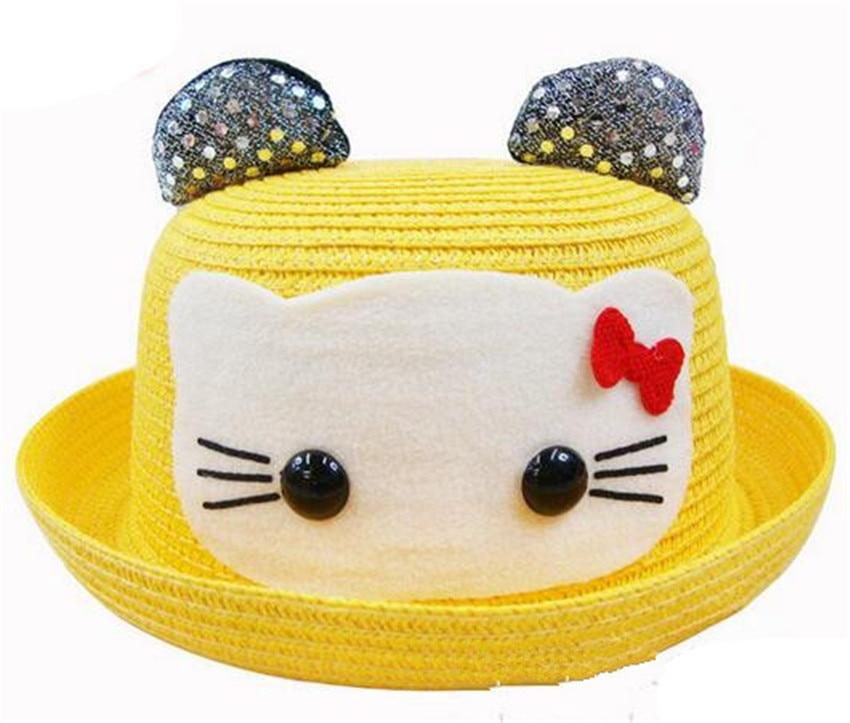 92df92d2407cb Moda animales patrón niños Sol sombrero Niñas paja sombrero de verano los  niños dibujos animados niño Sol sombrero en Sombreros y Gorras de Mamá y  bebé en ...