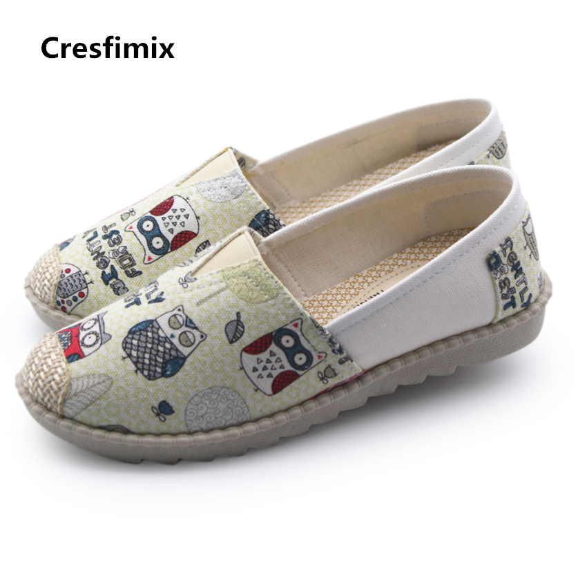 Cresfimix zapatos de mujer women cute bird printed canvas shoes lady spring & summer slip on flats female cool comfy shoes a214 cresfimix women cute spring and summer slip on flat shoes lady pu leather green flats zapatos de mujer female leisure shoes