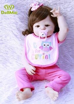 23inch Real LifeLike Newborn Baby Reborn Full Silicone bebe alive simulation vinyl girl menina fashion doll princess bathe toys