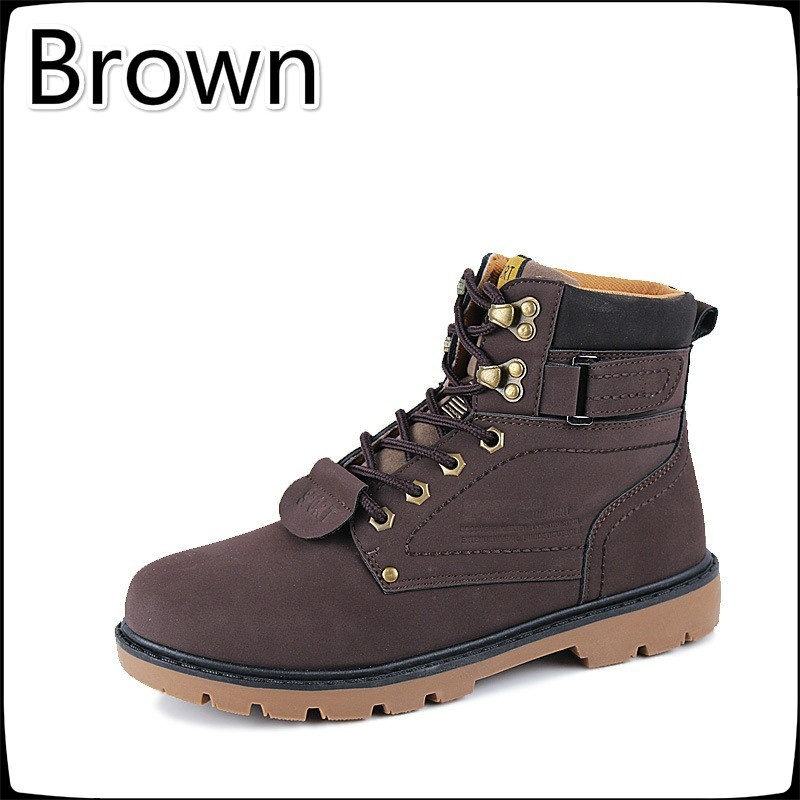 Kiss Shoe Man Boot Winter Men Boots Ankle Shoes Warm Snow Velvet Fur Work Flats Martin Shoe Lace-up