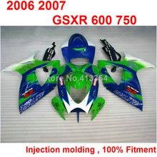 Injection molding fairings for Suzuki GSXR600 2006 2007 green blue white motorcycle fairing kit GSXR 600 750 K6 K7 06 07 TN07