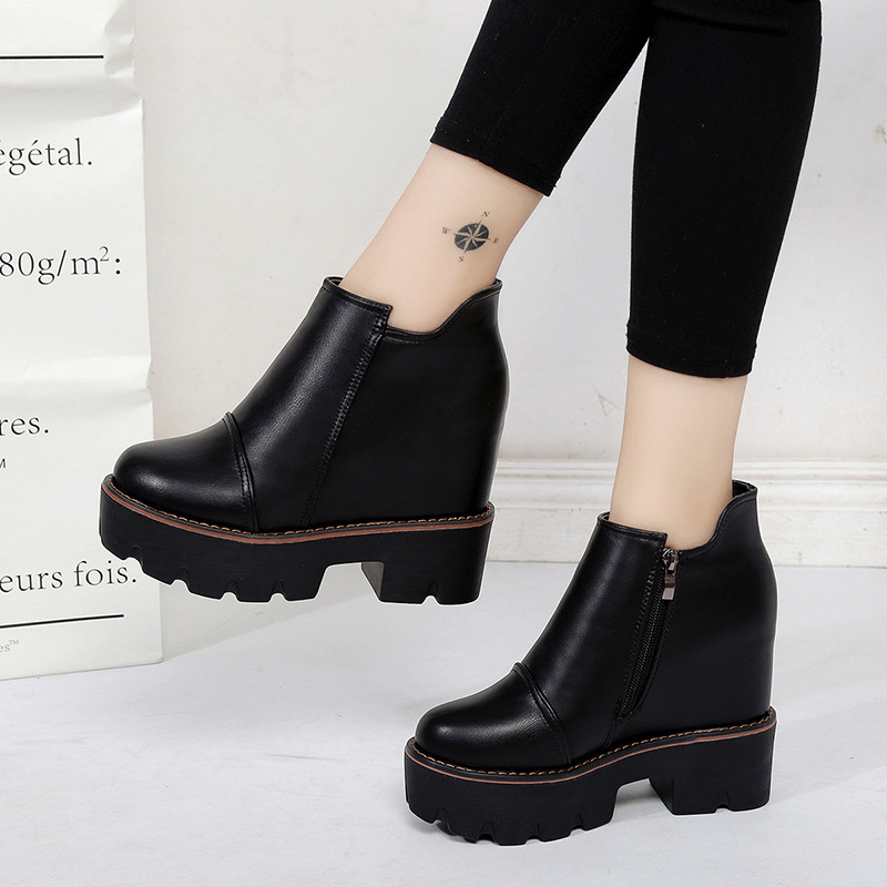 все цены на Ankle Muffin Platform High Heel Biker Punk Rock Boots Booties Wedge Round Toe Waterproof Women Motorcycle Black Shoes Harajuku g