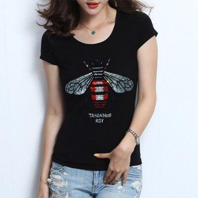 ccf58b46383a1 NEW High quality Women Rhinestone T shirt Bee blingbling crystal Women Top  Tees plus size short