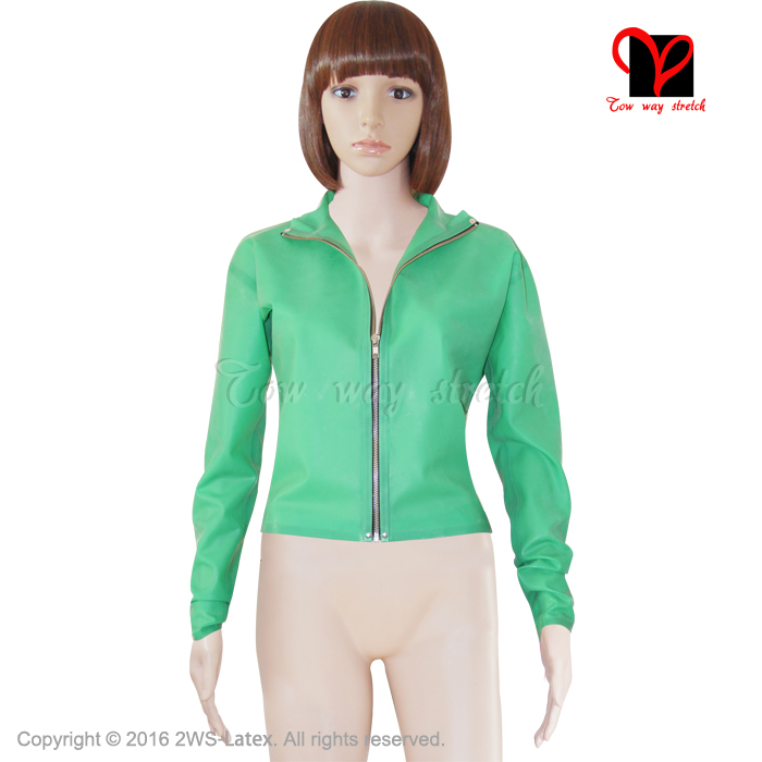 Sexy Jade green Latex Jacket shirt Rubber Bomber Gummi blouse clothes clothing zipper Biker Crop Top coat plus size XXXL SY 009