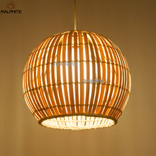 цены Nordic Bamboo Led Pendant Lights Living Room Long Pendant Lamps Dining Room Bird Cage Undertale Kitchen Lamp Hanging Fixtures