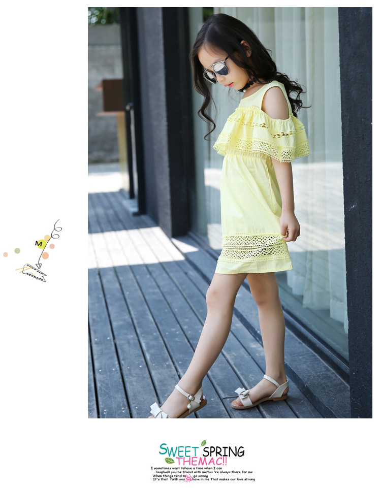 ae66822d children dresses girls new 2017 teenage 12 14 years old 160 cm white yellow  pink cute kids clothes