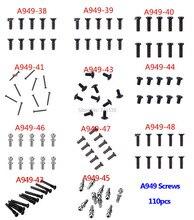 مسامير من 110 قطعة مسمار برأس مسطح مستدير من A949 لألعاب Wltoys A949 A959 A969 A979 قطع غيار السيارات التي تعمل بالتحكم عن بعد