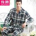 Alta Qualidade Dos Homens de Pijama 2016 Primavera & Outono Conjuntos de Pijama Pijama Homens Tecido da Manta da Longo-luva Pijamas Dos Homens Pijamas Twinset