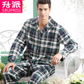 High Quality Mens Pajamas 2016 Spring & Autumn Pijama Men Woven Pajama Sets Plaid Long-sleeve Pyjamas Men Pijamas Twinset