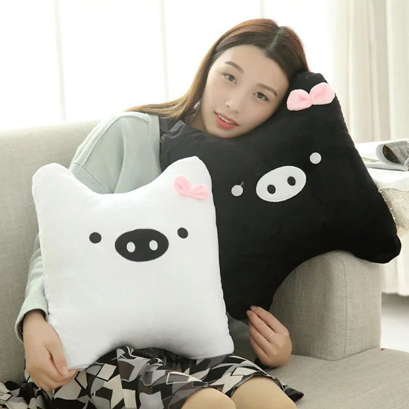 Cute Black White Pig Plush Toys 38cm baby pillow Kids Cushion Lovers Pig cloth doll birthday gift Baby Wedding Christmas Gift new style cute cotton cloth children s pillow hippos elephant plush toys pillow soft cushion birthday gift cushion