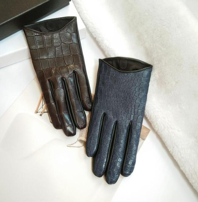 Women's Natural Sheepskin Leather Gloves Female Imitation Crocodile Skin Touch Screen Motorcycle Driving Glove R811