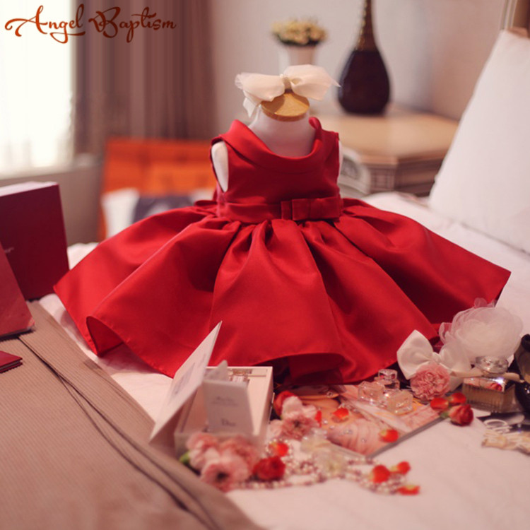 купить Red satin Baby ball gown first Birthday Dress christening dresses Newborn thanksgiving christmas pageant party gown with bow по цене 3552.87 рублей