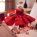 Red satin Baby ball gown first Birthday Dress christening dresses Newborn thanksgiving christmas pageant party gown with bow