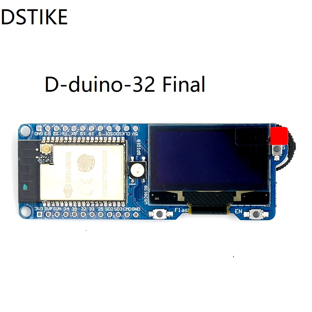 D-Duino-32 Sd Last Pre-Flashed Wifi Packet Monitor Esp32 Wrover 1.three Oled Nodemcu Arduino Battery Charging Low Energy Value Tfcard