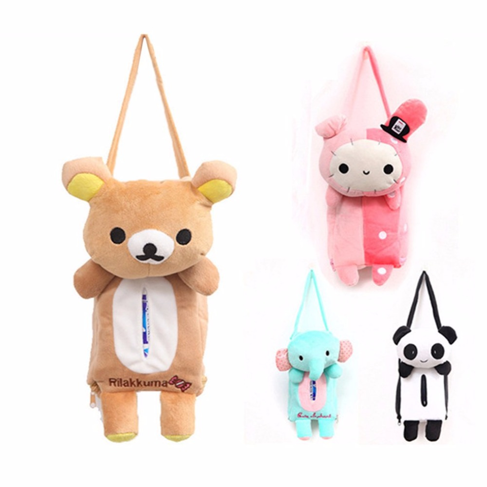 Kawaii Cute Cartoon Design Home Car Tissue Box Hanging Style Bathroom Storage Holder Portable Tissue Box For Baby Travel