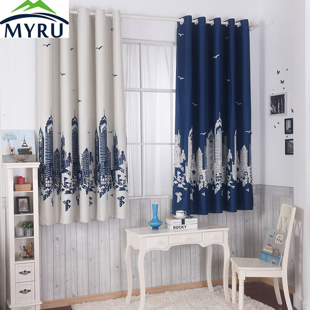 MYRU Blue Castle Shade Cloth Curtain Childrens Bedroom Curtains Cartoon Short Windows