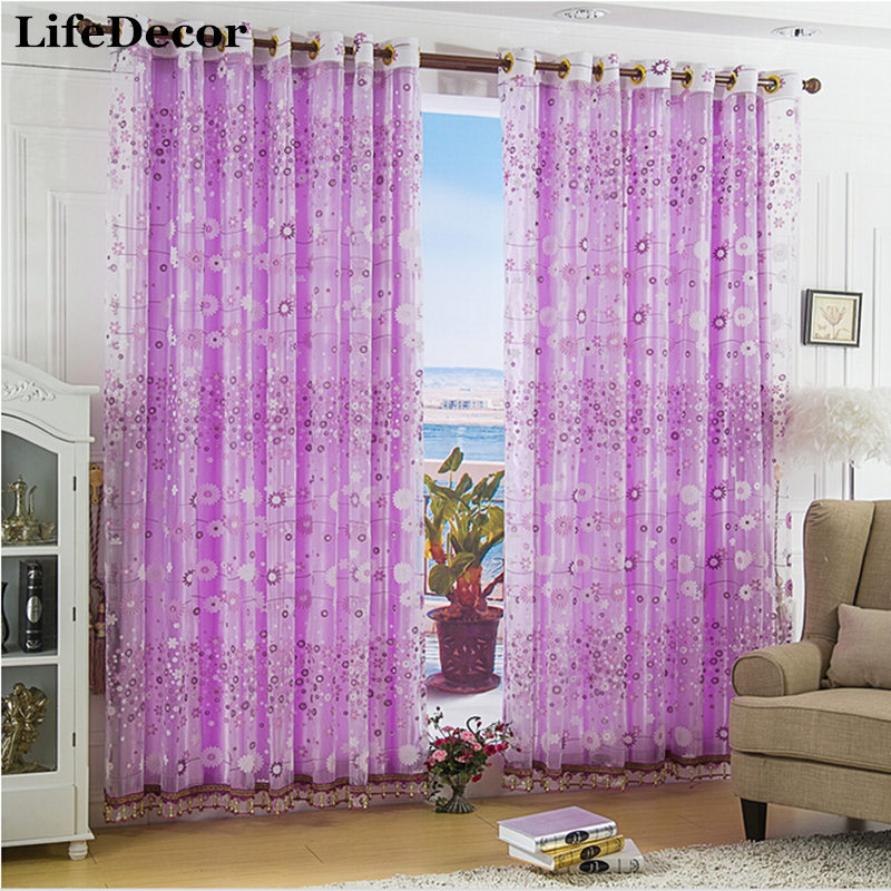 Cheap Purple Dandelion Rustic Screens Curtains Bedroom Explosion Models Hot Low Price Window Curtain