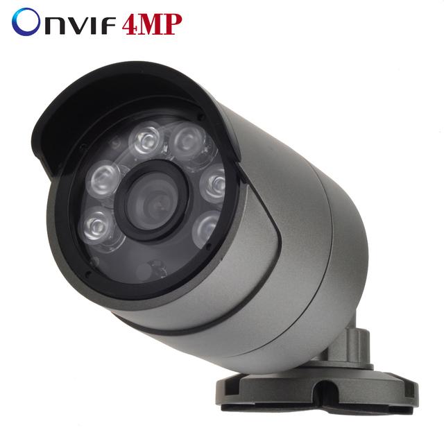 """ONVIF vigilância H.265/4MP H.264 IP Câmera Ao Ar Livre IP66 À Prova D' Água de metal Câmera de CCTV Hi3516D + 1/3 """"OV4689 6 pcs LEDS de MATRIZ"""