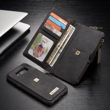 Для Galaxy S8 + caseme для Samsung Galaxy S8 плюс G955 Металлический Зажим кошелек ретро Разделение кожа Корпуса + Съемная Внутренний чехол