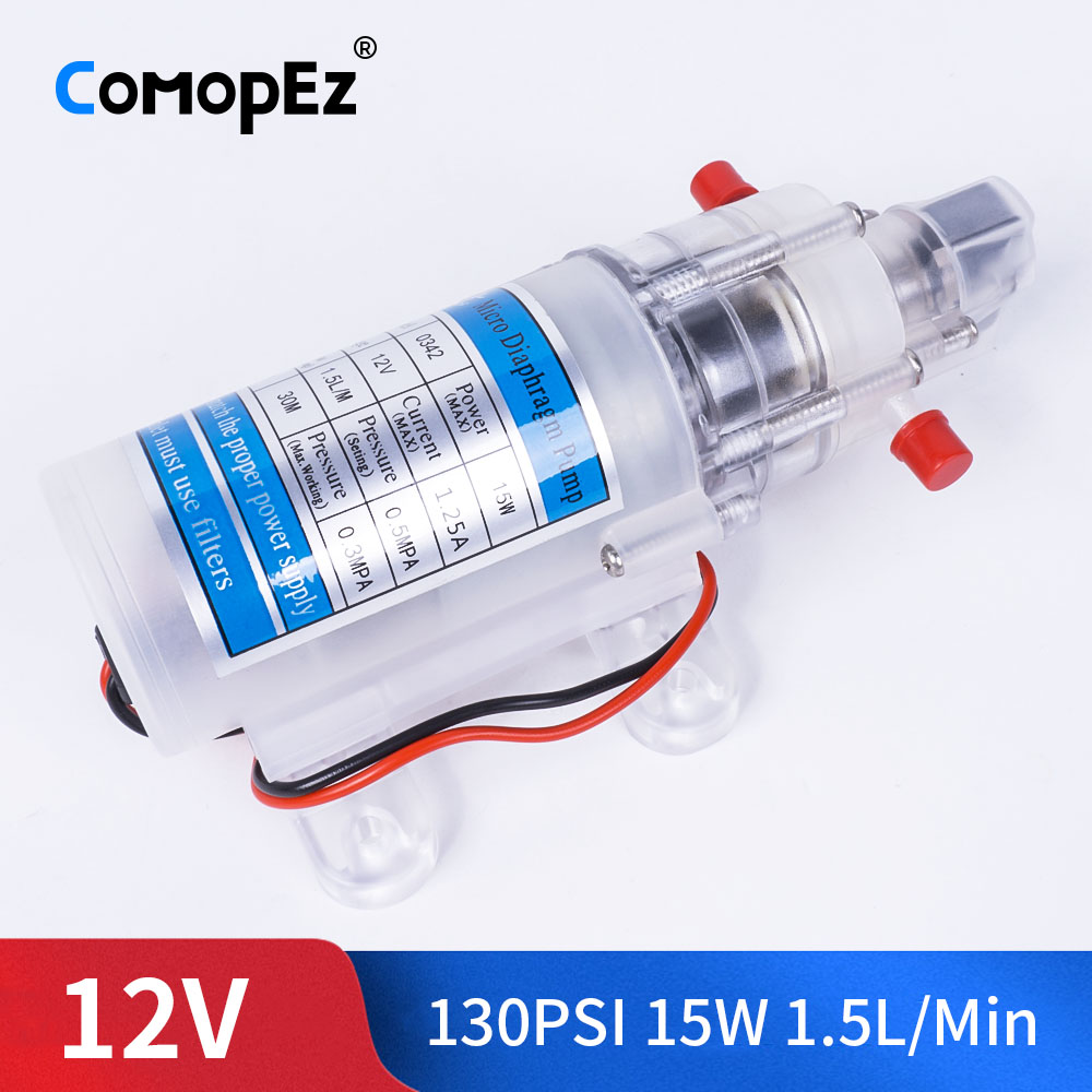 DC 12V 15W 130PSI 1.5L / Min High Pressure Food Grade Electric Diaphragm Pump Self-Priming Pump Automatic Switch For Garden