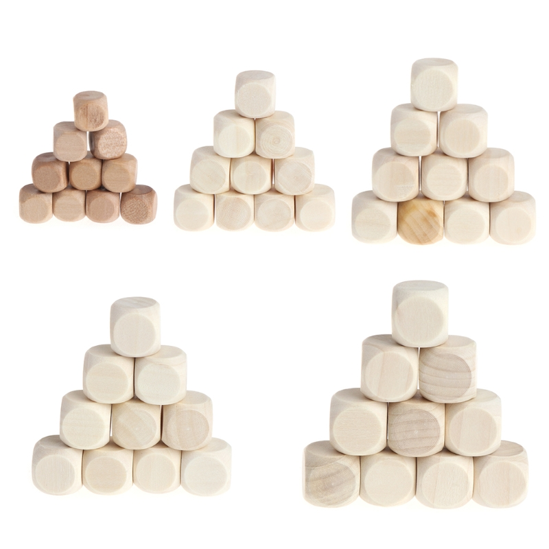 10pcs 6 Sided Blank Wood Dice Party Family DIY Games Printing Engraving Kid Toys