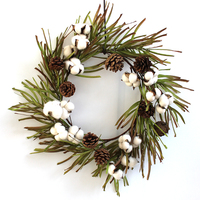 Faux Cotton with Grass 20 Wreath Fall Grass Wreath Christmas Decoration Cotton Bells Home Living Decor Indoor Artificial Flower