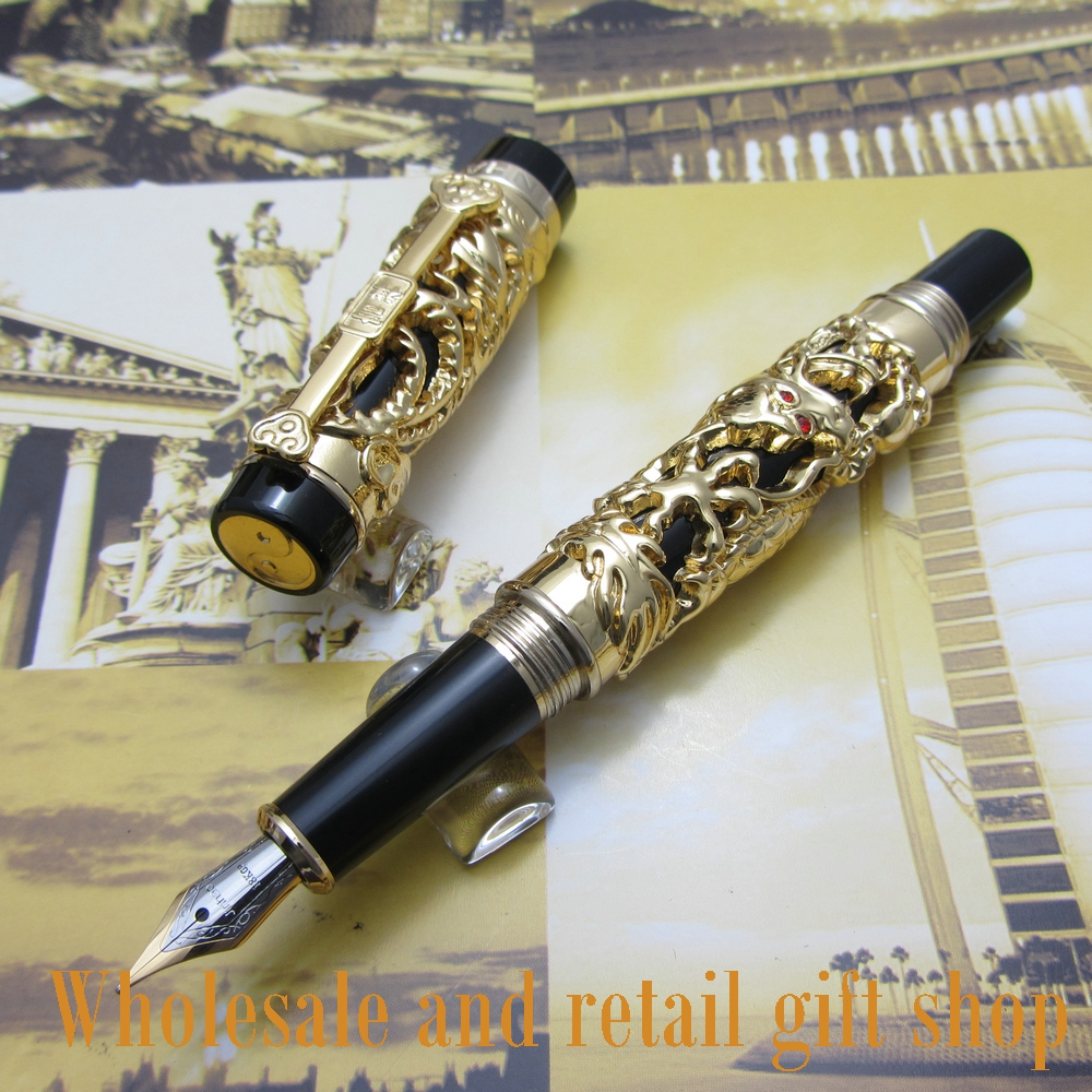 Jinhao Dragon Phoenix Heavy Gold Chinese Classical Luck Clip Fountain Pen цена