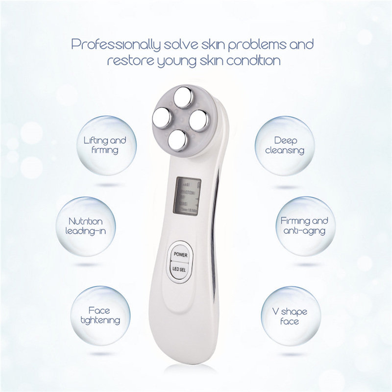 Image 3 - Face Skin EMS Mesotherapy Electroporation RF Radio Frequency Facial LED Photon Skin Care Device Face Lifting Tighten Beauty Tool-in Powered Facial Cleansing Devices from Home Appliances