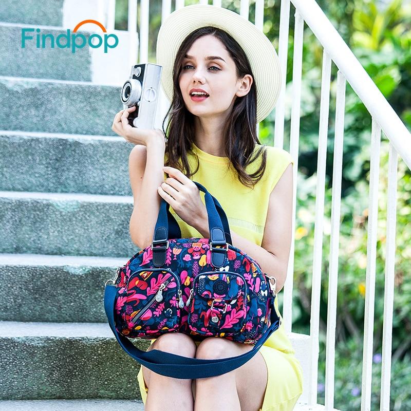 Findpop Flowers Printing Handbags Women Fashion Casual Crossbody Bags For Women 2018 New Waterproof Canvas Crossbody Totes Bags