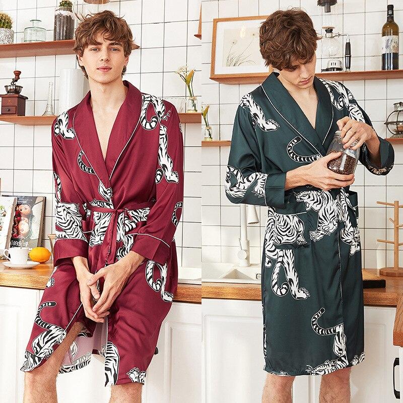 Men Silk Kimono Summer Satin Bathrobe Red Tiger Knee Length Long Sleeve Bath Robe Dark Green Dressing Gown For Male Sleepwear