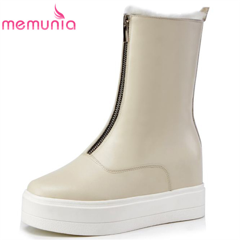 MEMUNIA 2018 new arrive genuine leather boots for women fashion warm autumn winter boots fashion simple ankle boots casual shoesMEMUNIA 2018 new arrive genuine leather boots for women fashion warm autumn winter boots fashion simple ankle boots casual shoes