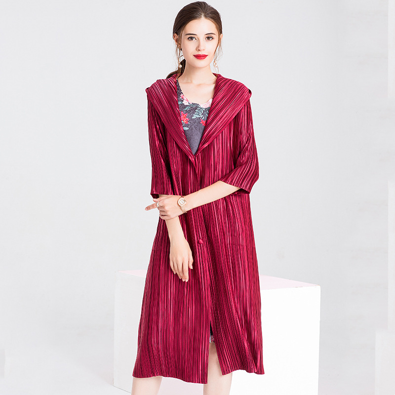 Spring Women Pleated Fashion New Tidal Solid Color Hooded Long Jacket Lady Breaker Coat