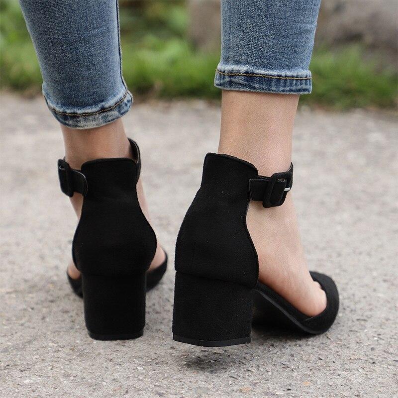 Dames Couverture En Orteil dark Black Talon Deux Chaussures Cheville Robe Pointu Pompes Mode Starp D'été Daim Blue gray Femmes Sandales Pièces 1PBgaSx4